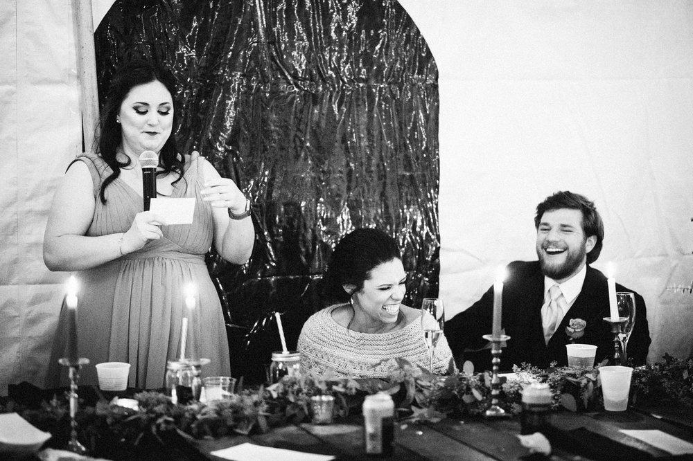 Micaha & Austin // Cozy Autumn Wedding at Springhouse Gardens // Lexington, Kentucky // Wedding Photography // Reception // Toast