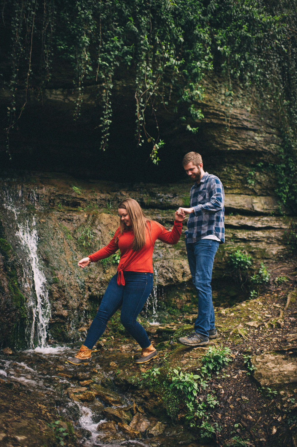 Maggie + Corey Adventurous Engagement Session- Sarah Katherine Davis Photography - Cherokee Park Hike - Louisville Kentucky - Crossing Stream