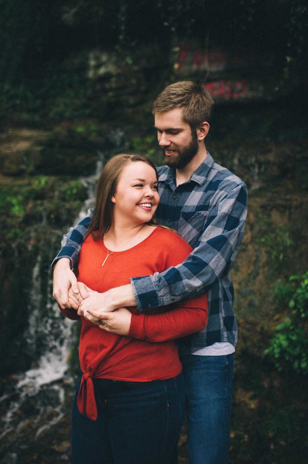 Maggie + Corey Adventurous Engagement Session- Sarah Katherine Davis Photography - Cherokee Park Hike - Louisville Kentucky - Hugging