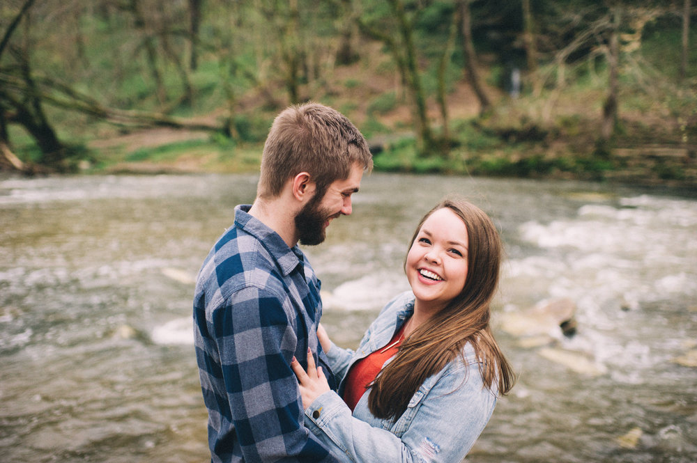 Maggie + Corey Adventurous Engagement Session- Sarah Katherine Davis Photography - Cherokee Park Hike - Louisville Kentucky - Hugging by Creek