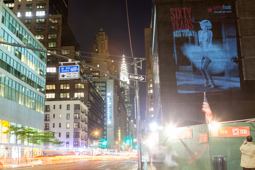 Marilyn Monroe Flixel with Sexy Hair shown in living photo on 53rd and Lexington in NYC