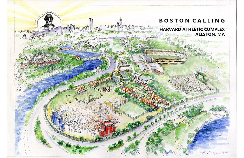 Sketch of the festival's new layout at the Harvard Athletic Complex. Created by Alina Daragon