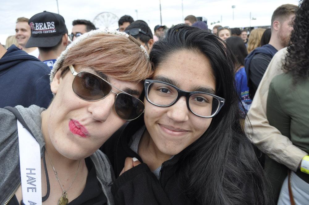 Wentworth's Ariel Ziegler(left) with her friend Isha Saxena.