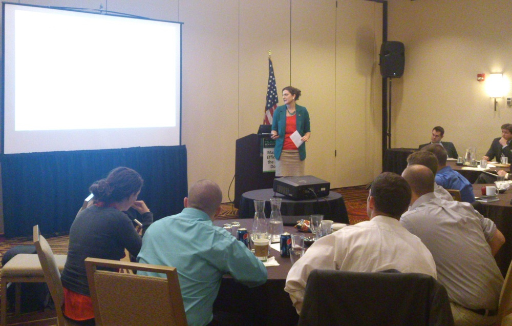 CEO Paige C. Rasmussen speaking at the Human Geography Summit in 2012 about applying Operations Research Techniques to Social Network Analysis.