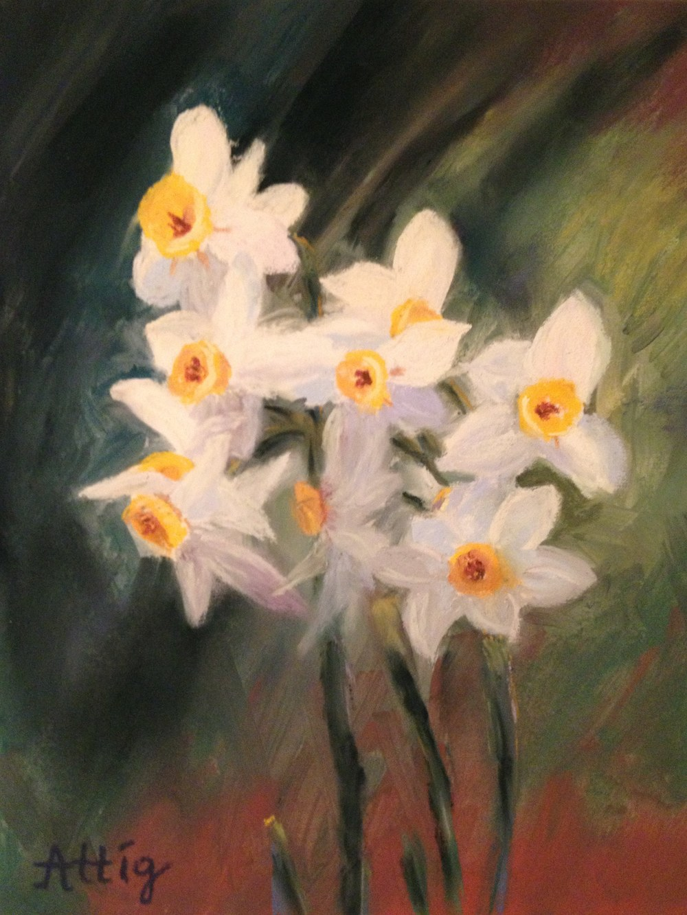 """""""Wild Daffodils, Blue Moon Ranch"""" 10"""" x 8"""" SOLD Donated to cancer auction"""