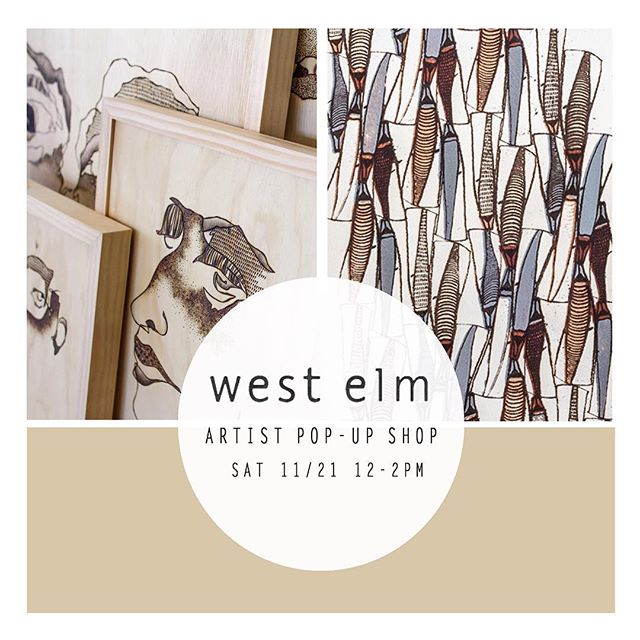 Swing by West Elm tomorrow between 12-2pm to check out my work and watch some woodburn'! @west_elm_austin