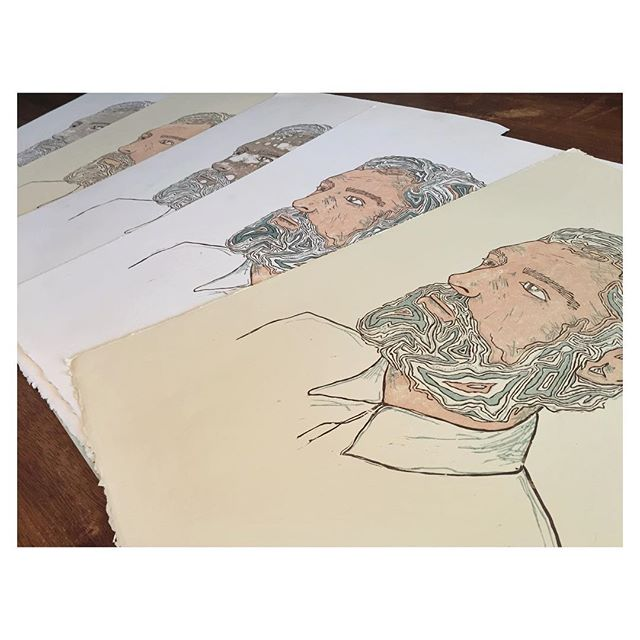 packin' & shippin' these handsome fellas - wood block prints of my well traveled man
