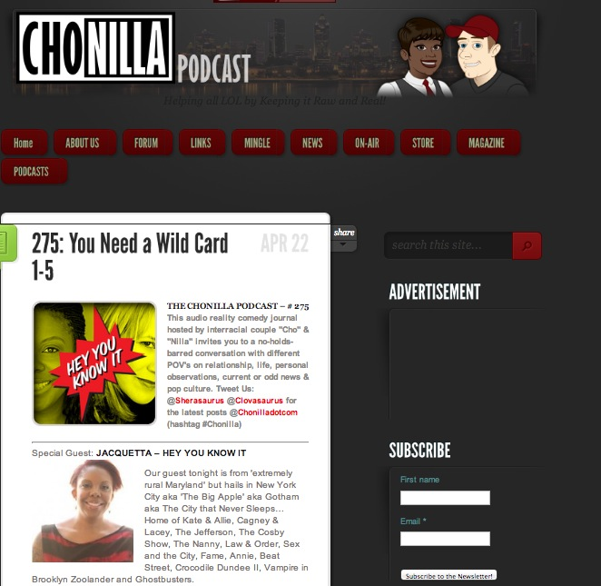 Click to hear Jacquetta as as guest on Chonilla.com