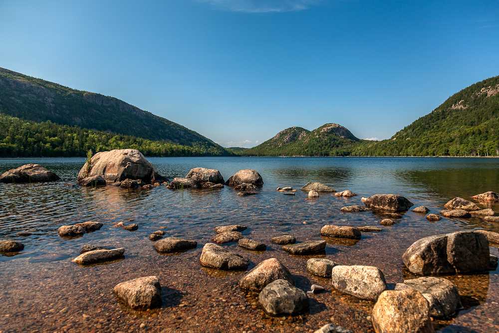 Jordan Pond with Bubbles: The North and South Bubble Mountains in the distance.