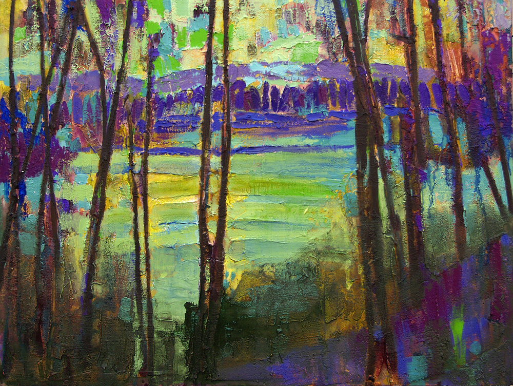 Landscape with purple and greens