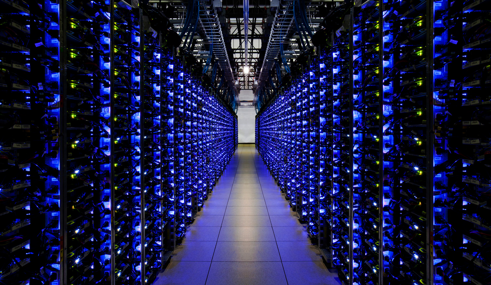 Rows of servers inside Google's Georgia data center