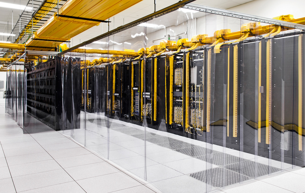A network room inside Google's Iowa data center
