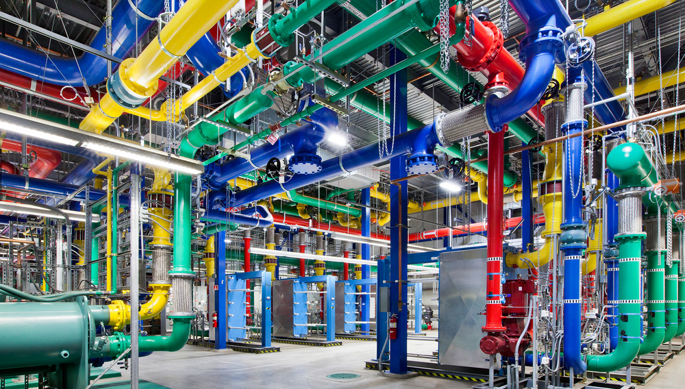 Thousands of feet of pipe line the inside of this Georgia data center. They're painted bright colors not only because it's fun, but also to designate which one is which.