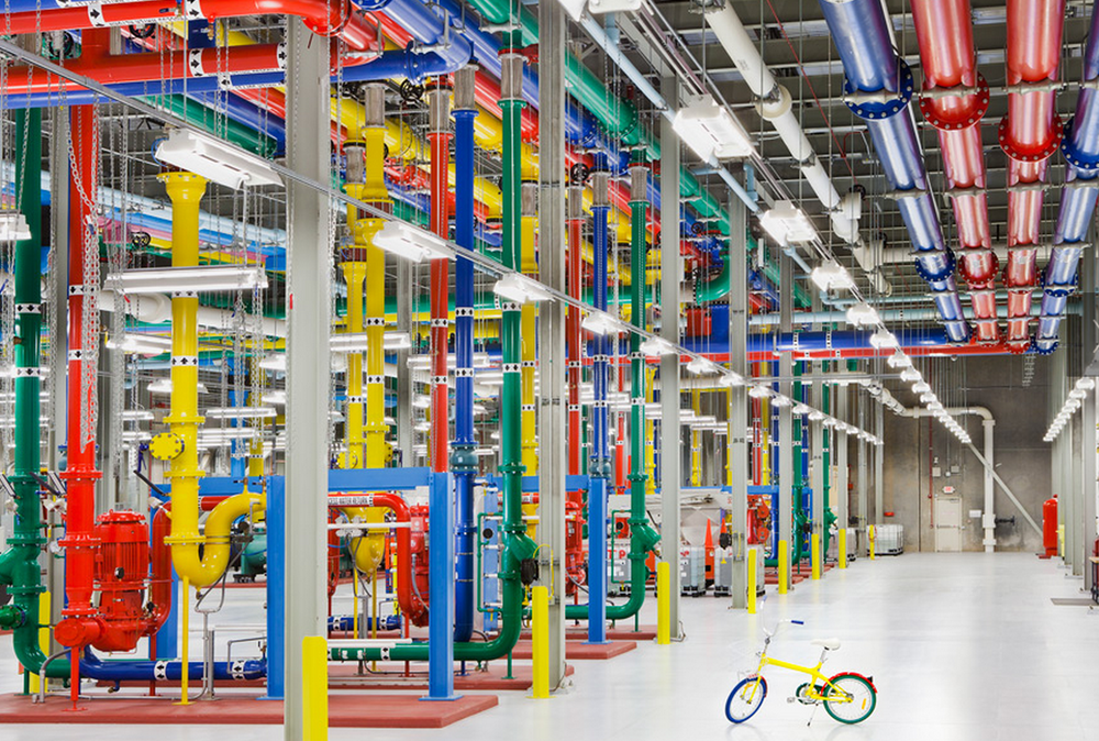 These colorful pipes send and receive water for cooling this Google facility in Georgia