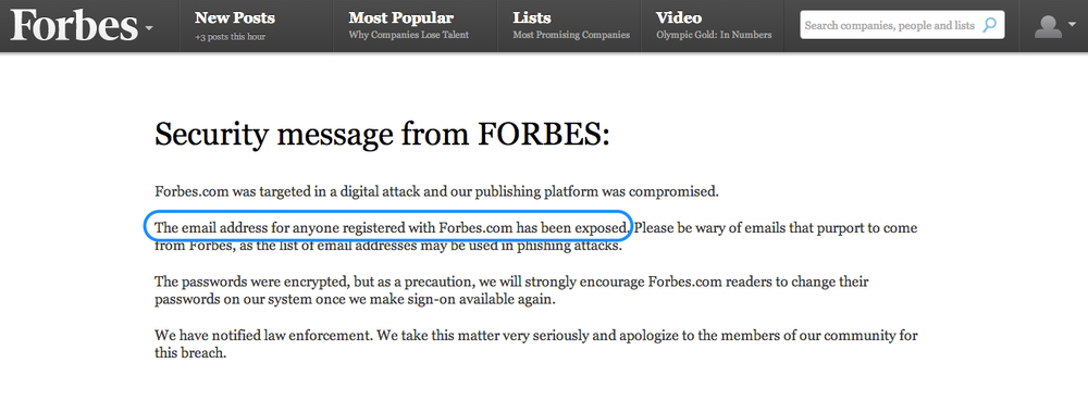 The security message currently on Forbes.com, February 17th, 2014.
