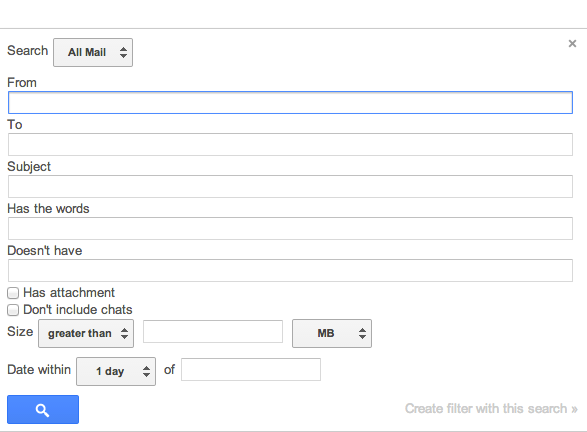 Gmail's Search Options