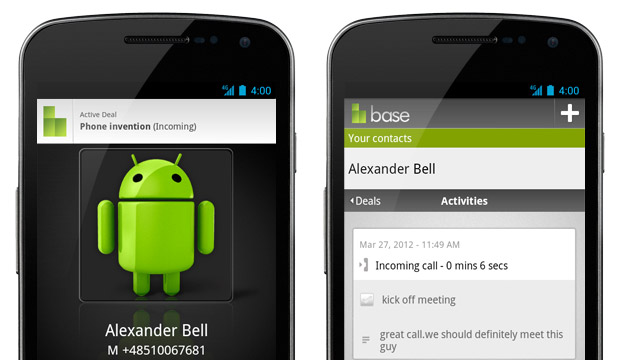 Base CRM Android call logging