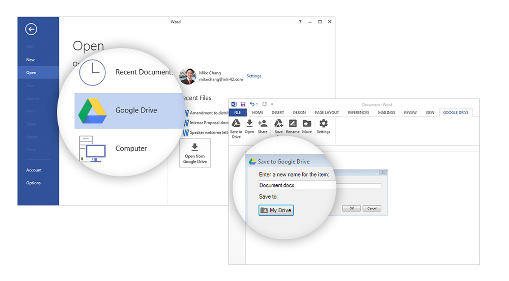 Google Drive Plug-in for Word, Excel, and Outlook
