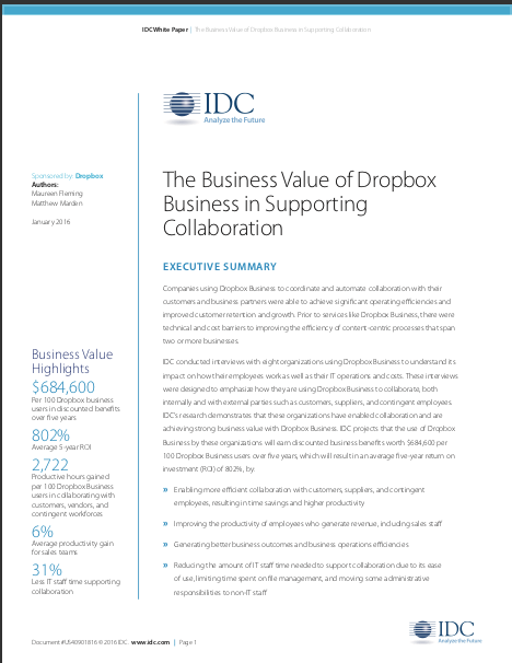 IDC Study: The Business Value of DropboxBusiness