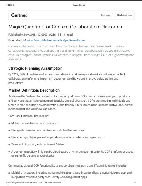 Gartner Magic Quadrant for Content Collaboration Platforms