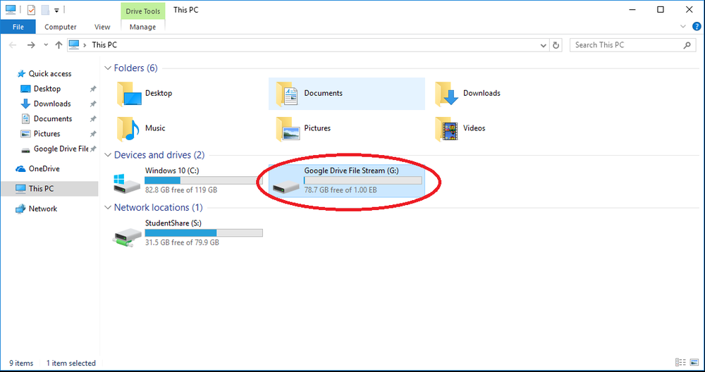 Drive File Stream installs as a Network resource.
