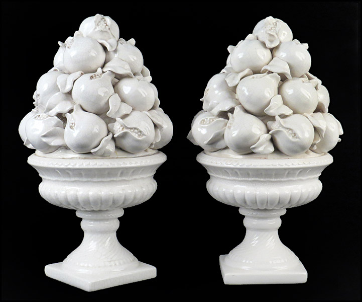 "PAIR OF CERAMIC FRUIT TOPIARIES.  Height: 20.5"" $50/$100"