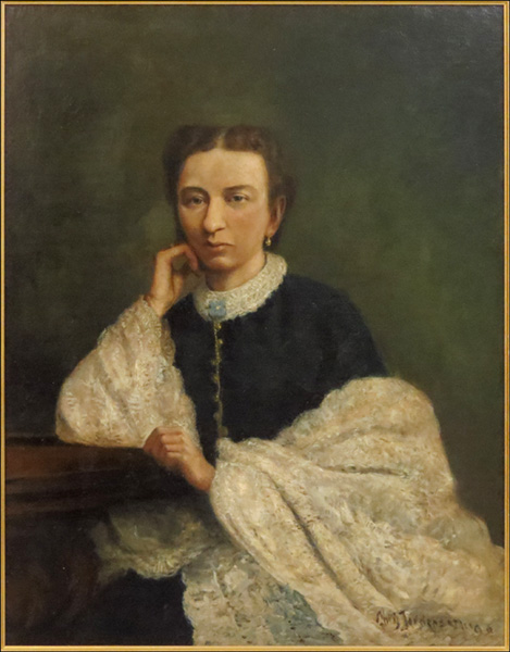 "CHRISTIAN JORGENSEN (AMERICAN, 1860-1933) PORTRAIT OF A LADY WITH A SHAWL.  Oil on board, signed and dated '98(?) LR, Board: 33"" x 25"", $200/$300"