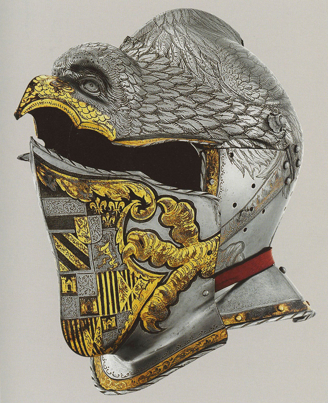 The ceremonial and parade helmet of Charles V, Desiderius Helmschmid, c. 1540