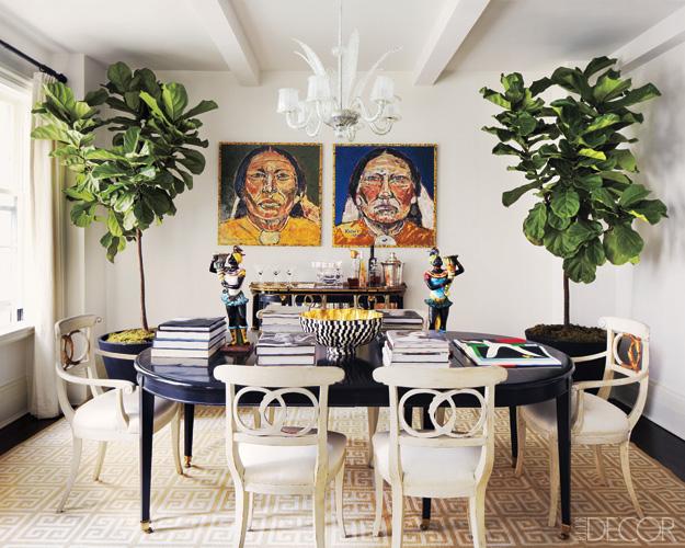 fiddle leaf fig indoor plant dining room art greek key rug.jpg