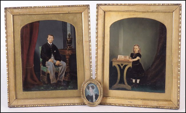 "$200/$300 - EARLY 19TH CENURY PAINTED MINIATURE PORTRAIT. In an oval gilt frame. Together with two framed painted photographs (frame: 10.5"" x 12.5"") Frame: 3.5"" x 2.75""    When it co   mes to art, I'm normally in the ""bigger is better camp"", but something about these really grabs me."