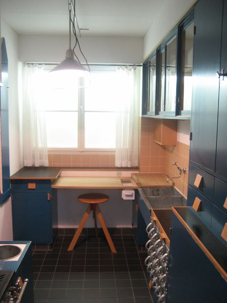 A 1989-90 replica of the Frankfurt Kitchen at the  MAK