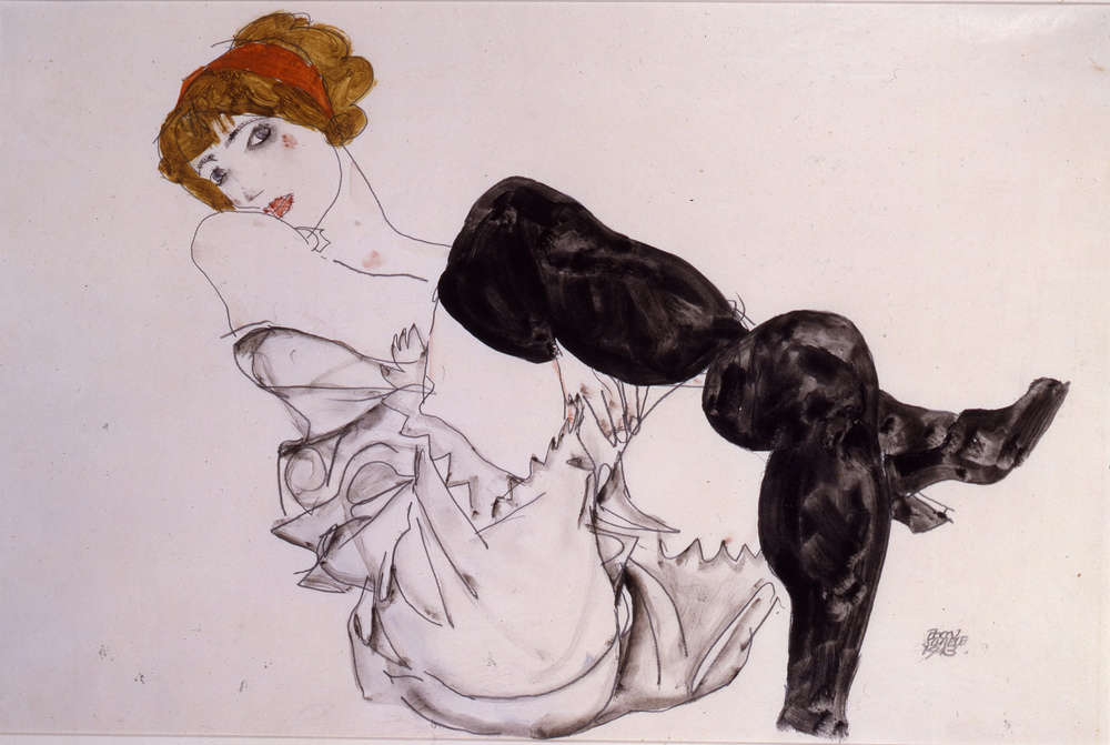 Egon Schiele - Wally Neuzil in Black stockings 1912