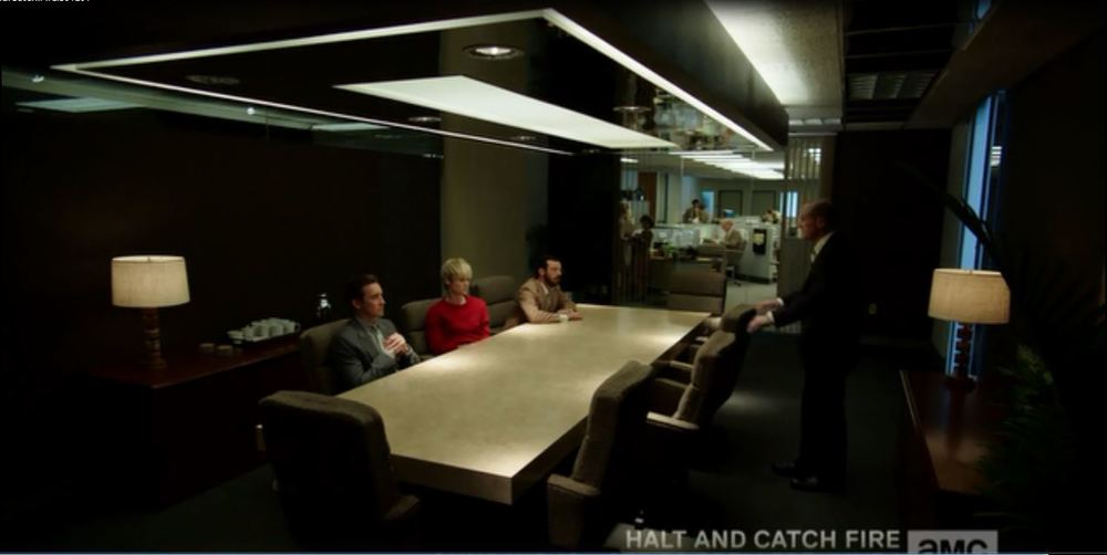 Halt and Catch Fire: Season 1, Episode 1 - Conference room in a tech company from back in the day.