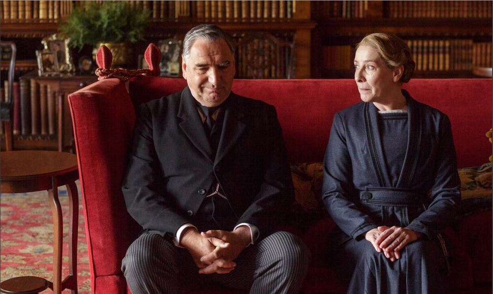 Downton Abby: Season 6 - Carson's butt is finally testing out the furniture.