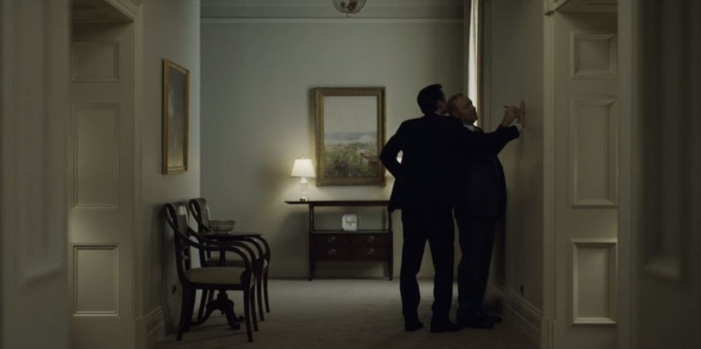 House of Cards: Season 4, Episode 4 - Frank Underwood traces his bodyguard's hand on the White House wall.....I presume he will be embellishing the drawing into a Thanksgiving turkey.