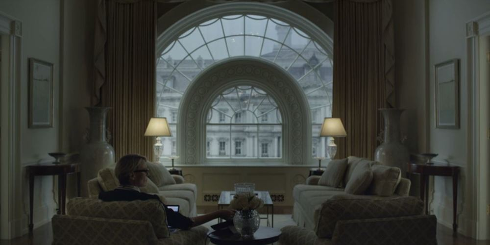 House of Cards: Season 4, Episode 5 - A room that is symmetrical down to the horizon line in the art.