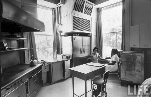 Lady Bird Johnson in the family kitchen, 1966