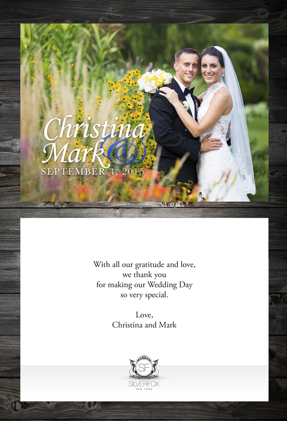 An example of our in-house thank you card designs, custom made for each couple.