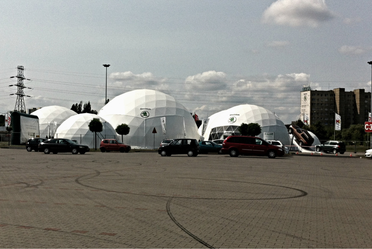 I stumbled upon this today. Škoda temporary pavilions.