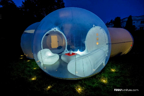 "(via  The Air House )     BubbleTree® and FUGU®, two French companies innovate and introduce the ""AIR HOUSE"", a fully inflatable villa, from its furnishing to its architechture. An innovative concept, revolutionary design and functionality that will make a hit during your events, equip your hotel spaces or become your own living.     This is what I believe in!"