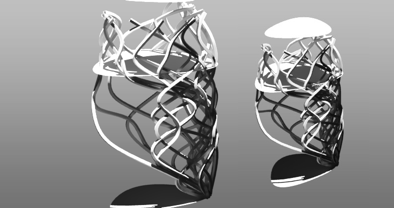 One of the semi projects done at Parametric Design Workshop.   GenerativeComponents Script does create a random set of curves and then wraps them around the selected bSplineSurface.     function (BSplineSurface powierzchnia)     {        SetRandomSeed(0);        Point mojPunkt = {{}};        // tutaj deklaruje punkt         for (int j = 0; j < 20; ++j)     {         double x = Random(0,20)*0.1;         mojPunkt[j] = {};          for (int i = 0; i < 10; ++i)         {           mojPunkt[j][i] = new Point().ByCartesianCoordinates(baseCS,x*0.1,0,i*0.1);           if (x>0.9999) x=x-10;           if (x<0) x=x+10;           mojPunkt[j][i] = new Point().ByUVParametersOnSurface(powierzchnia, x*0.1, i*0.1);          x = x + Random(-10,10) * 0.2;         }       }        return mojPunkt;     }
