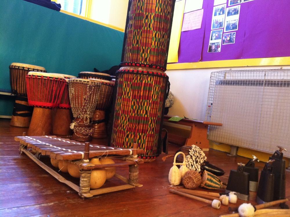Balafon, bells, shakers and the djembe & dun dun fleet