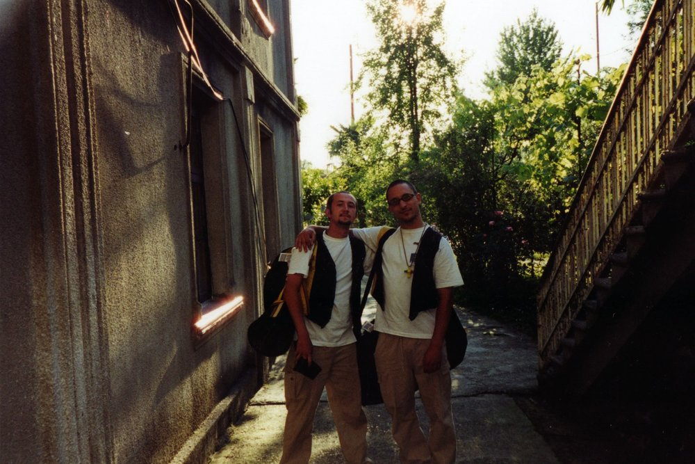 Tony and Pete in Zugdidi frontline with Abkhazia, Georgia (1998-2000). We delivered 100's of workshops for children classified as Internally Displaced Persons (IDP's) by the ongoing conflict. We also worked with Roxana Vilk, Dee Isaacs, Miriam Nabarro and Prof Nigel Osborne to establish training programmes for multi-arts creative workshop projects.