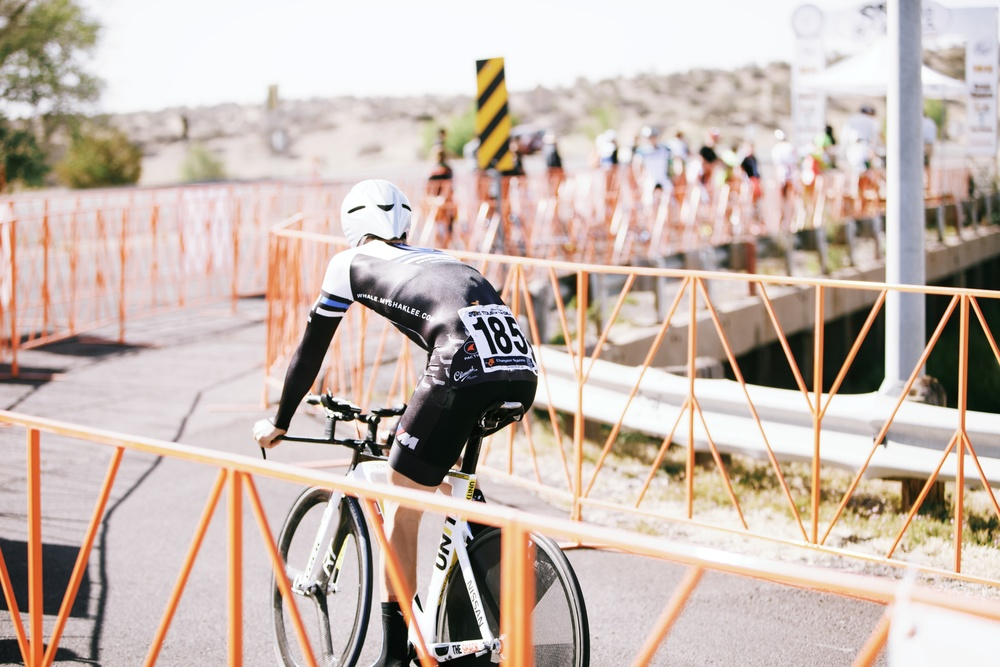 Tyler Brandt on the way to his time trial start. | Photo: Andy Bokanev