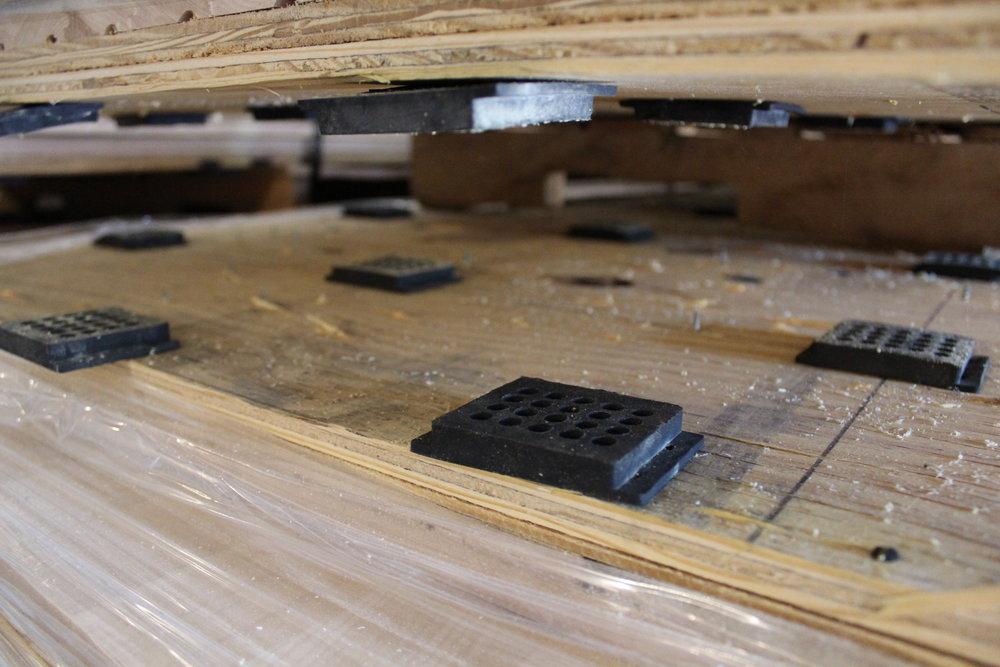 Basketball flooring pads closeup