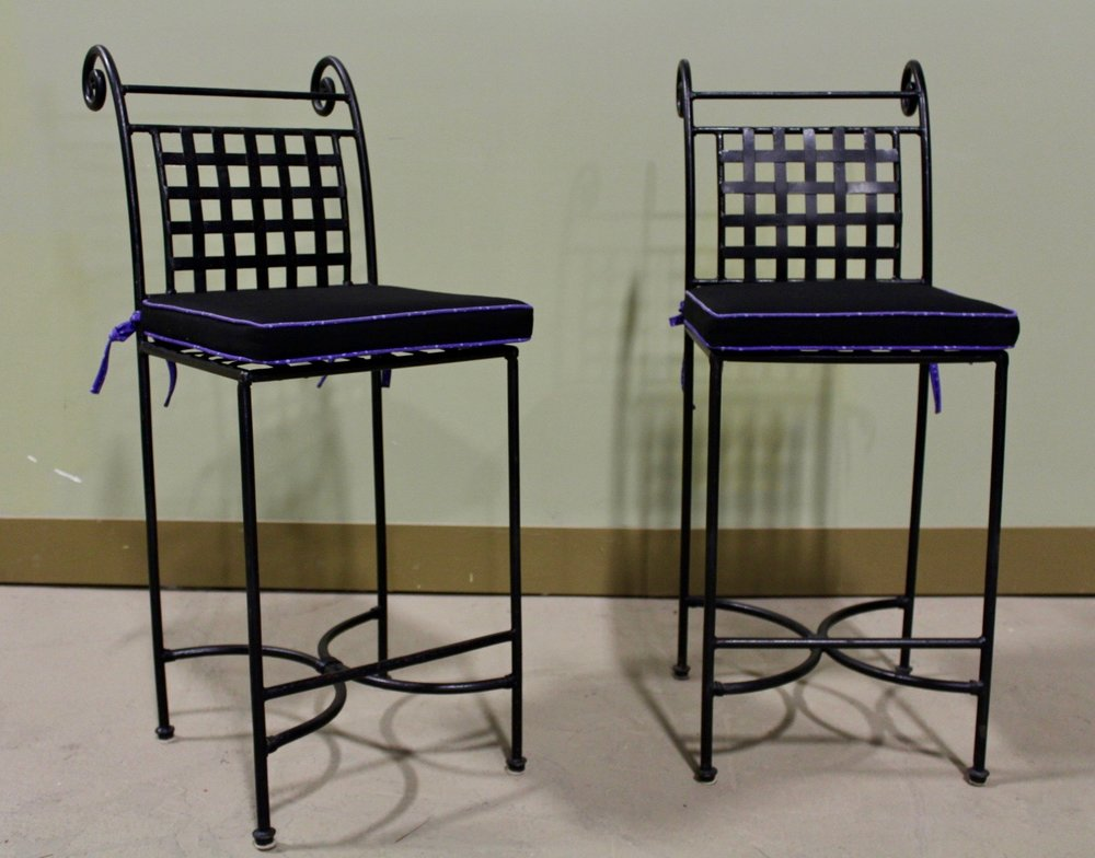 Black metal bar stools