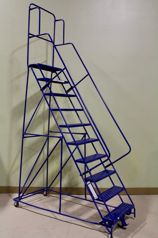 Metal rolling 10-step ladder