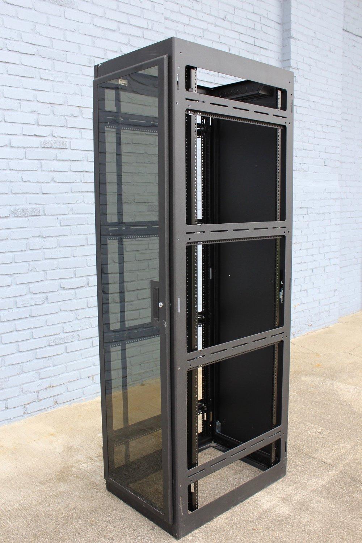 Black metal server cabinets