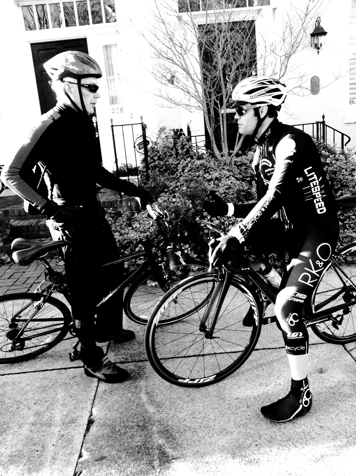 "I like to call this photo ""The Face-Off""."" To my shock and joy, Roger invited my dad for a bike ride. My dad is an ex-rower for Princeton so it's not like he can't hold his own, but Roger is well, really, really fast. He races for and is sponsored by  Team Sixcycle .  Rowers tend to be pretty good cyclists because the range of motion is very similar, but my dad had a hip-replacement several years ago from a bike wreck. I was pretty tickled my two main men were able to have themselves a little bonding experience and get in a workout in milder VA weather."