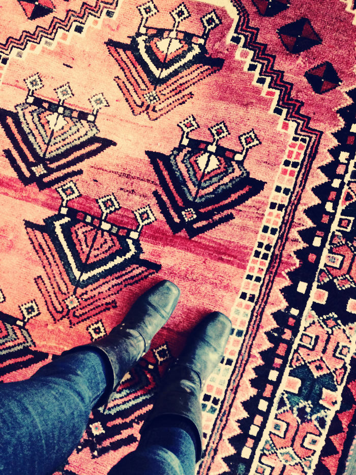 My favorite part about nesting into my new studio has been obsessing about rugs. I've been so inspired by all the colors and patterns of antique Moroccan, Turkish, and various eastern rug styles. I feel like I could spend a lifetime learning about them. Rug weaving has to be one of the most incredible art forms of all time.